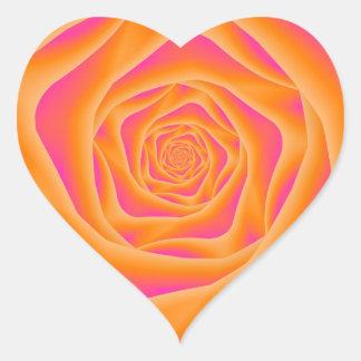 Orange and Pink Spiral Rose Heart Sticker