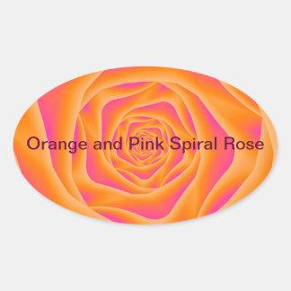 Orange and Pink Spiral Rose Oval Sticker