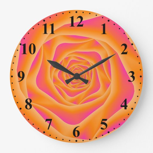 Orange and Pink Spiral Rose Wall Clock w Numbers