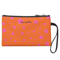Orange and pink stars pattern suede wristlet wallet