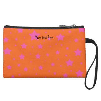 Orange and pink stars pattern suede wristlet wallet