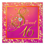 Orange and Pink Sweet Sixteen Party Personalized Invite