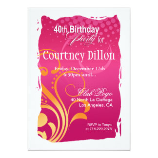 Orange and Pink Swirl 40th Birthday Party 5x7 Paper Invitation Card