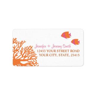 Orange and Pink Tropcial Beach Address Personalized Address Label
