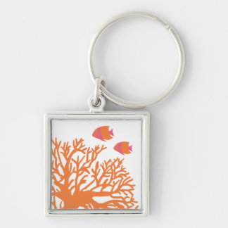 Orange and Pink Tropical Angelfish Silver-Colored Square Keychain