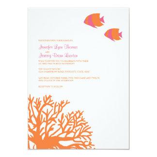Orange and Pink Tropical Coral Wedding Invitation