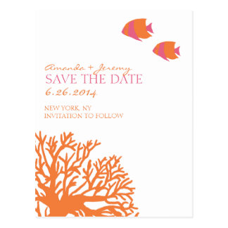 Orange and Pink Tropical Fish  Save the Date Postcard