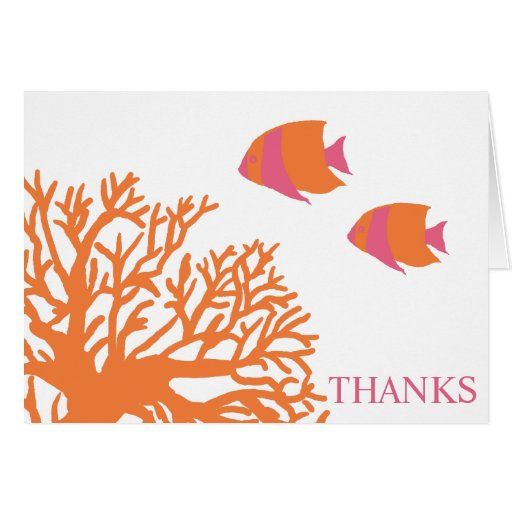 Orange And Pink Tropical Fish Thank You Card Zazzle