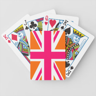 Orange and Pink Union Jack Bicycle Playing Cards