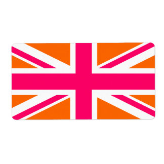 Orange and Pink Union Jack Shipping Label