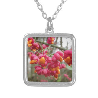 Orange and Pink Wahoo Bush Berries Silver Plated Necklace