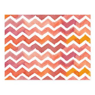 Orange and Pink Watercolor Chevron Background Postcard