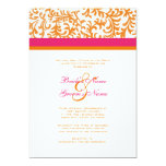 "Orange and Pink Wedding Invitation 5"" X 7"" Invitation Card"