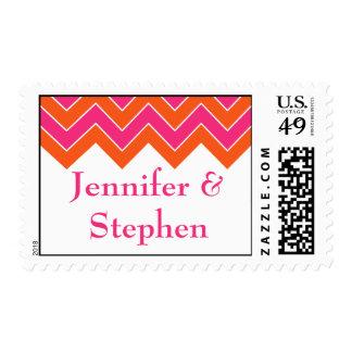 Orange and Pink Wedding Postage Stamp