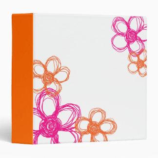 Orange and Pink Wild Flowers Binder