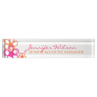 Orange and Pink Wild Flowers Desk Name Plate