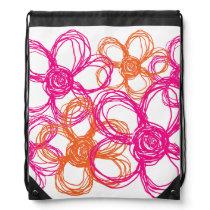Orange and Pink Wild Flowers Drawstring Bag
