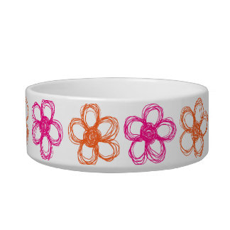 Orange and Pink Wild Flowers Cat Food Bowl