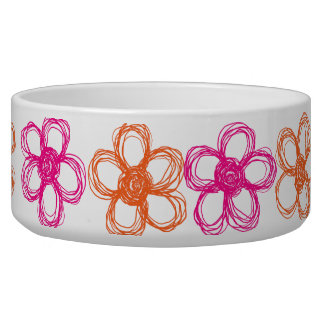 Orange and Pink Wild Flowers Dog Water Bowl