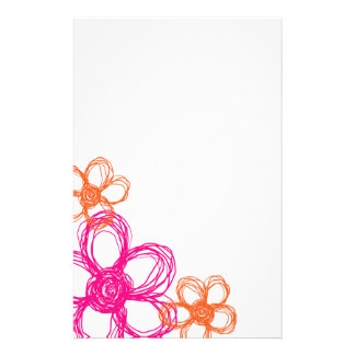 Orange and Pink Wild Flowers Custom Stationery