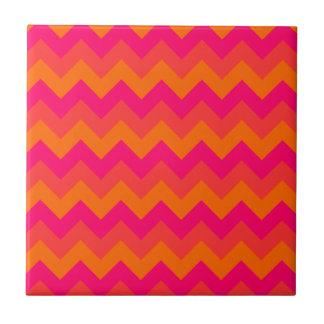 Orange and Pink Zigzag Ceramic Tile