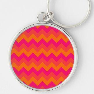 Orange and Pink Zigzag Keychain