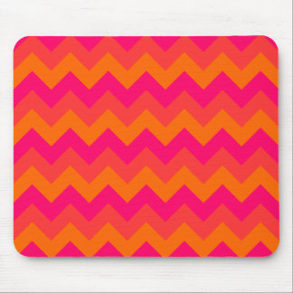 Orange and Pink Zigzag Mouse Pad