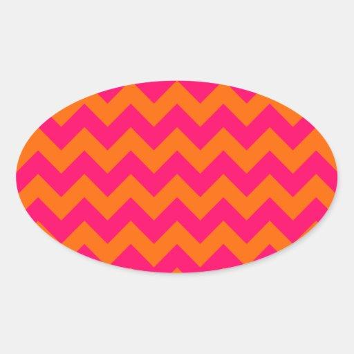 Orange and Pink Zigzag Oval Sticker