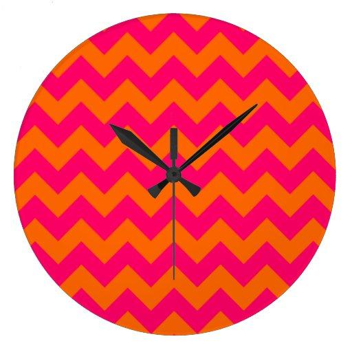 Orange and Pink Zigzag Wall Clock