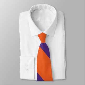 Orange and Plum Broad University Stripe Neck Tie