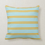 [ Thumbnail: Orange and Powder Blue Colored Pattern of Stripes Throw Pillow ]