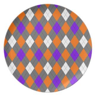 Orange and Purple Argyle Dinner Plate