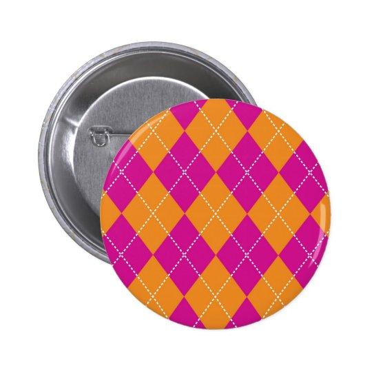 Orange and Purple Argyle Pattern Button