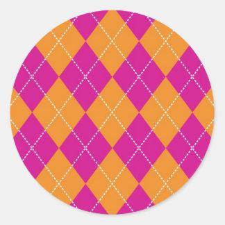 Orange and Purple Argyle Pattern Classic Round Sticker