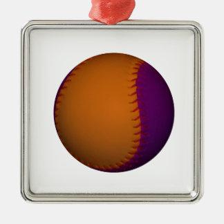 Orange and Purple Baseball Metal Ornament