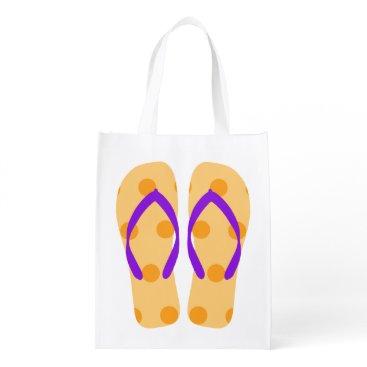 Beach Themed Orange And Purple Beach Summer Flip Flops Bag