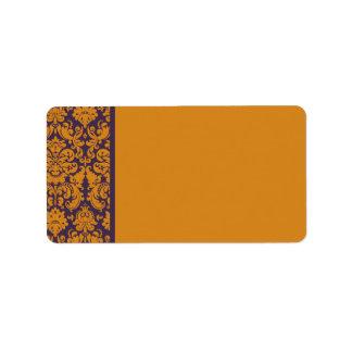 Orange and Purple Damask Address Label Blank