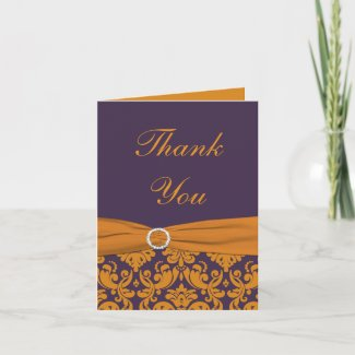 Orange and Purple Damask Thank You Note Card card
