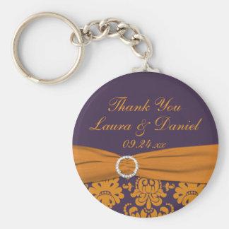 Orange and Purple Damask Wedding Favor Keychain