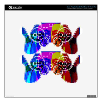 Orange and Purple Design Decal For PS3 Controller