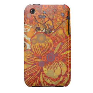 Orange and Purple Floral Modern Pop Art Case-Mate iPhone 3 Cases