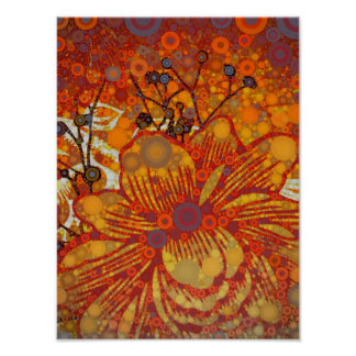 Orange and Purple Floral Modern Pop Art Poster
