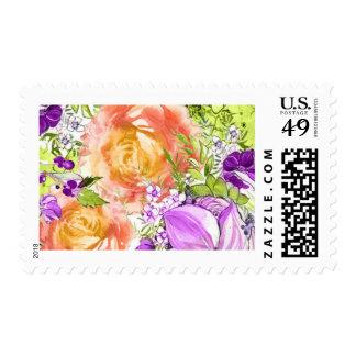 Orange and Purple Florals Postage Stamps