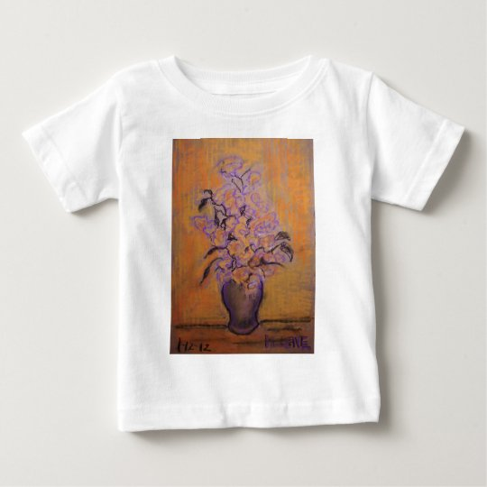 Orange and Purple Flowers and Vase Baby T-Shirt