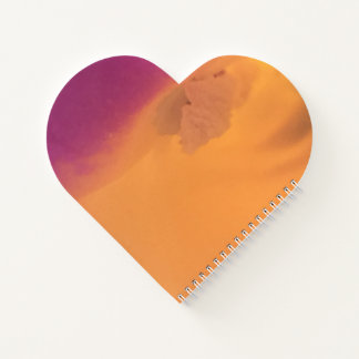 Orange and Purple Heart Shaped Notebook