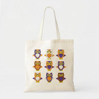 Orange and Purple Owl Tote Bag