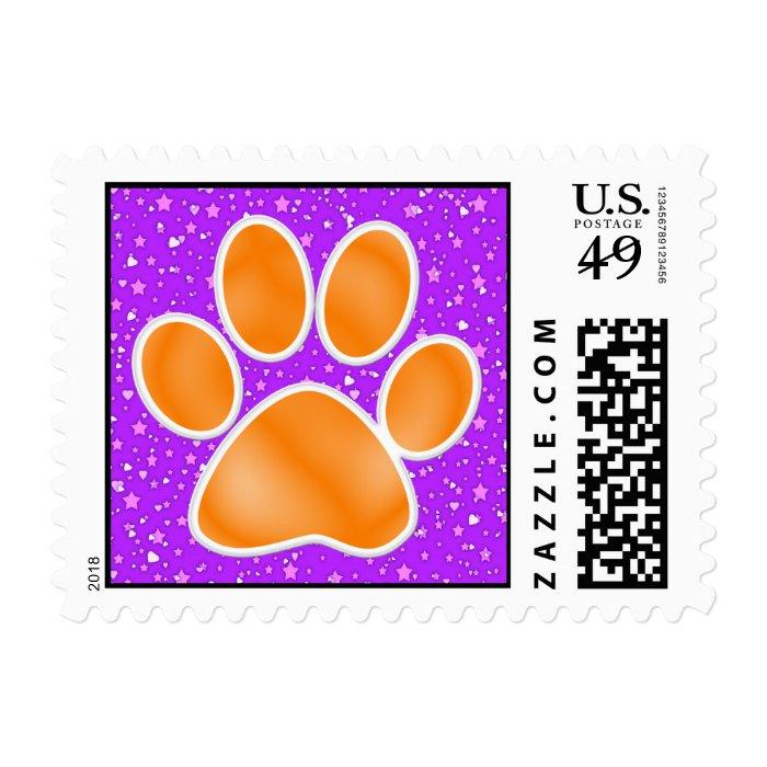 Orange and Purple Paw Print - SRF Postage Stamp