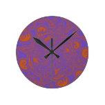 Orange and Purple Persian Star Mandala Pattern Round Wall Clocks