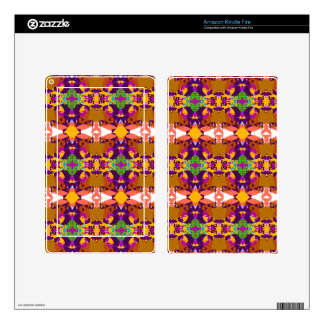 Orange and Purple Plaid Design Decal For Kindle Fire