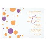 Orange and Purple Polka Dot Wedding Invitation